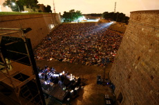 Outdoor film festival in Barcelona Spain