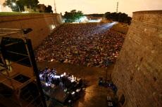 Outdoor film festival in Barcelona Spain