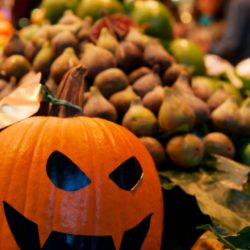 Halloween pumpkin at marketplace in Barcelona