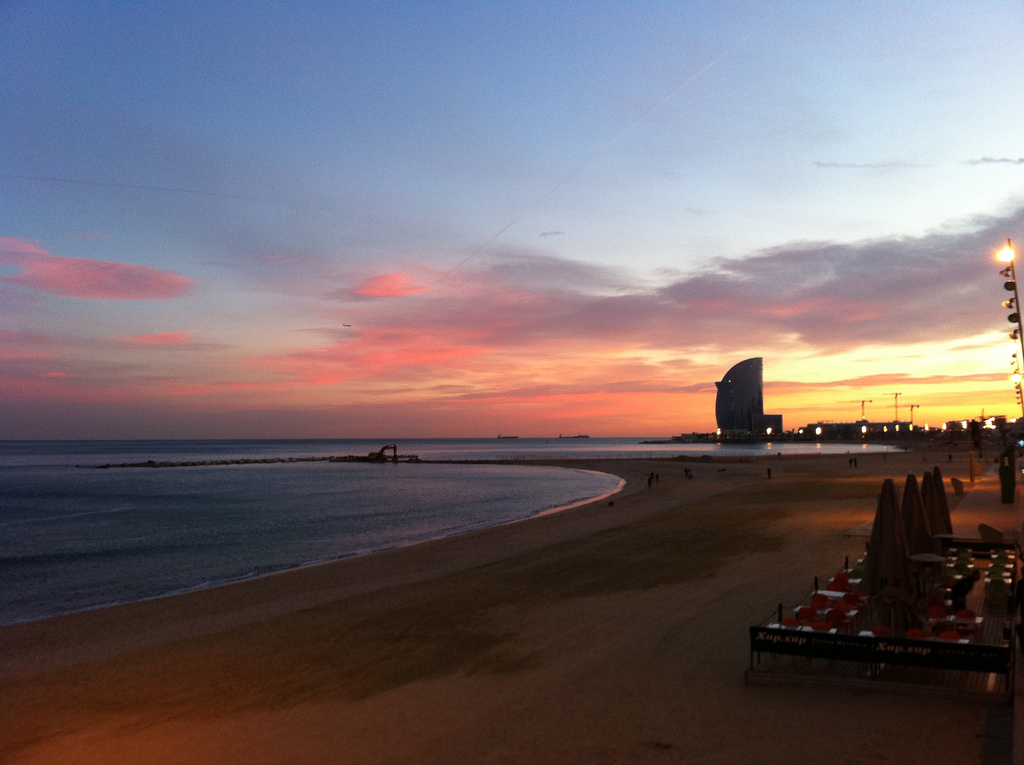Barceloneta Beach beautiful sunset