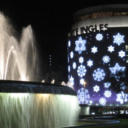El Corte Ingles with Christmas decoration Plaza Catalunya