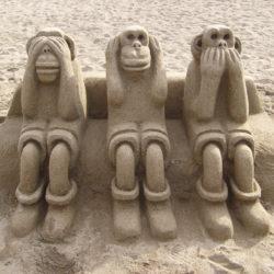 See No Evil Hear No Evil Speak No Evil sand monkeys on Barceloneta Beach!
