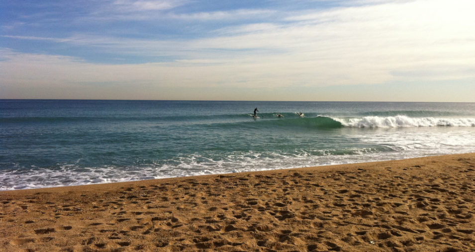 Surfing in the Sea Barcelona Spain Beaches