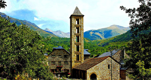 Vall De Boi stunning View of scenery and Romenesque Church