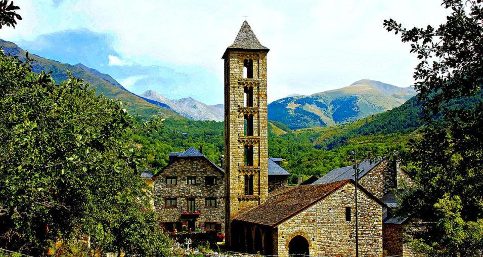 Vall De Boi stunning View of scenery and Romenesque Church