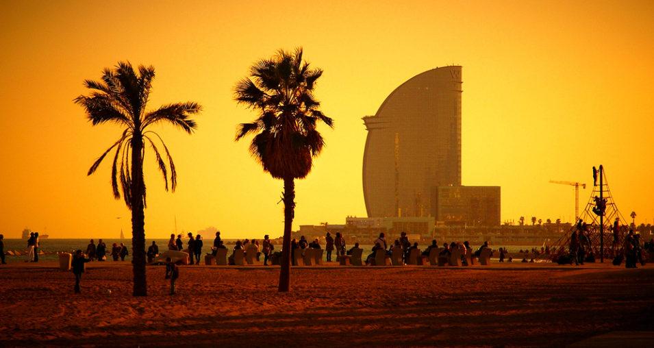 View of Barcelona Beach beautiful sunset
