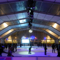 Ice rink in Plaza Catalunya Barcelona