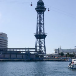 cable car tower in barcelona harbor