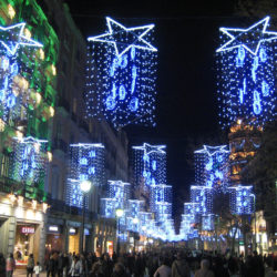 Christmas lights in Barcelona Spain