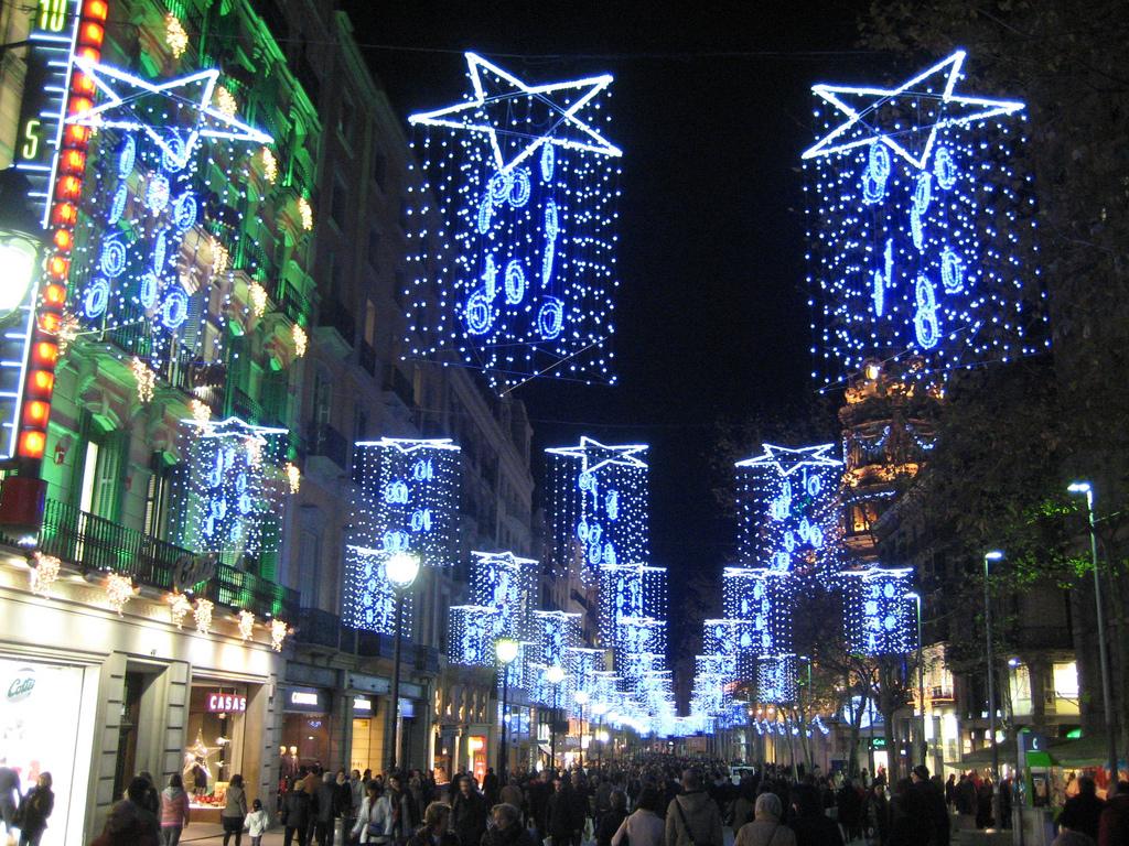 Christmas Lights In Barcelona Spain