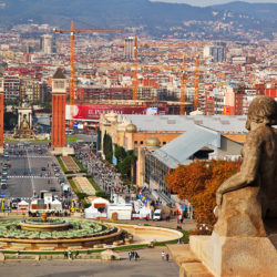 High view of Plaza Espanya Barcelona Spain
