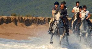 Horse riding in Barcelona Spain on the beachh