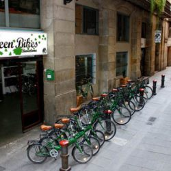 Outside Green Bikes Barcelona Company