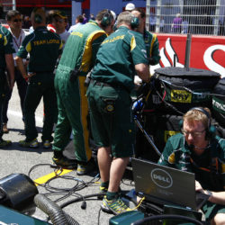 Preparing the car on the grid in Barcelona