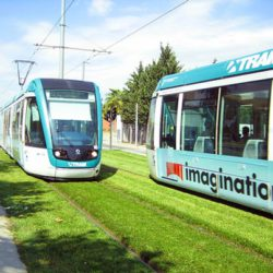 Integrated Tram system in Barcelona Spain