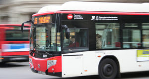 Number 15 Bus transport system Barcelona