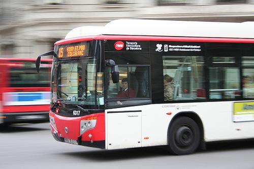 Number 15 Bus transport system Barcelona