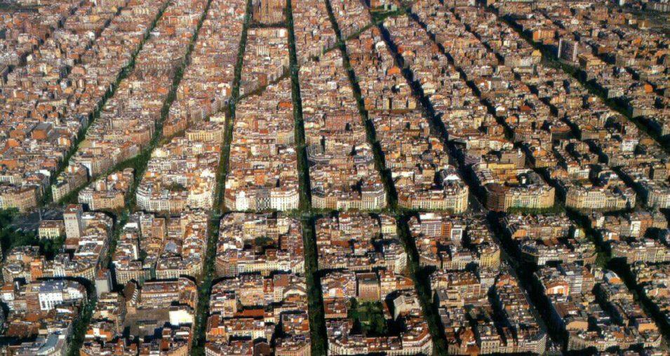 Sky view of Eixample Esquerra Barcelona spain
