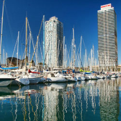 The beautiful Olympic Port in Barcelona Spain