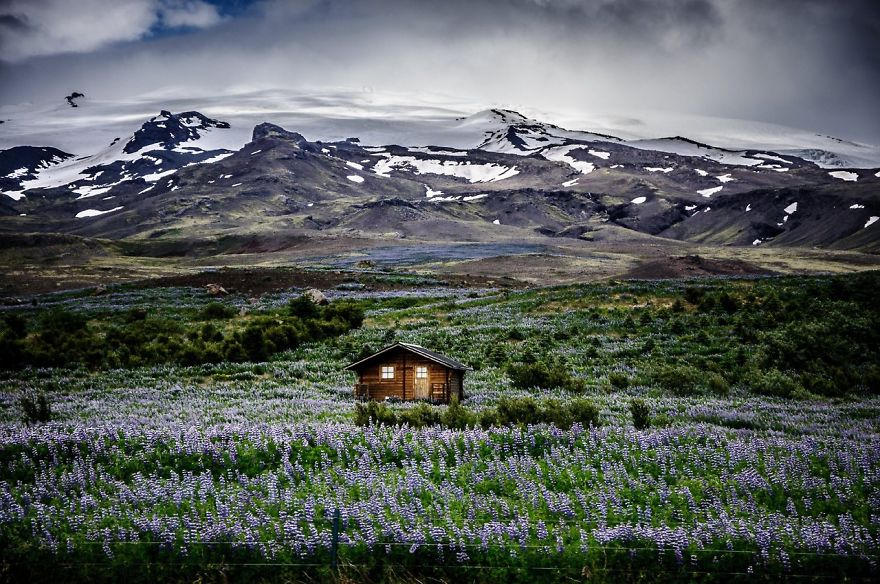A house in another beautiful Icelandic meadow.