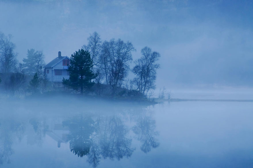Cottage in the fog, Norway
