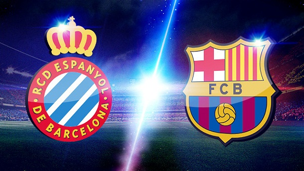 Logo's of the two football clubs from Barcelona; RCD Espanyol and FC Barcelona (Barça)