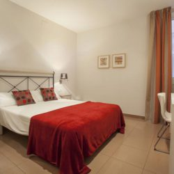 The bedroom comes with a large double bed