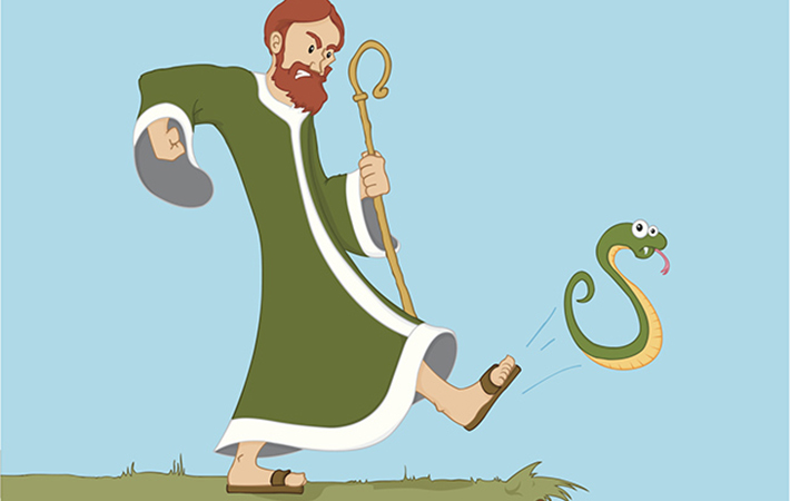 Saint Patrick kicking the snakes out of Ireland
