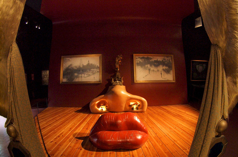 """Face of Mae West Which Can Be Used as an Apartment"" at the Dali Museum, Figueres, Spain."