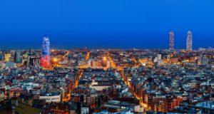 23 Mar 2011, Barcelona, Barcelona Province, Spain --- Barcelona skyline with Torre Agbar at twilight, Barcelona, Spain --- Image by © Sylvain Sonnet/Corbis