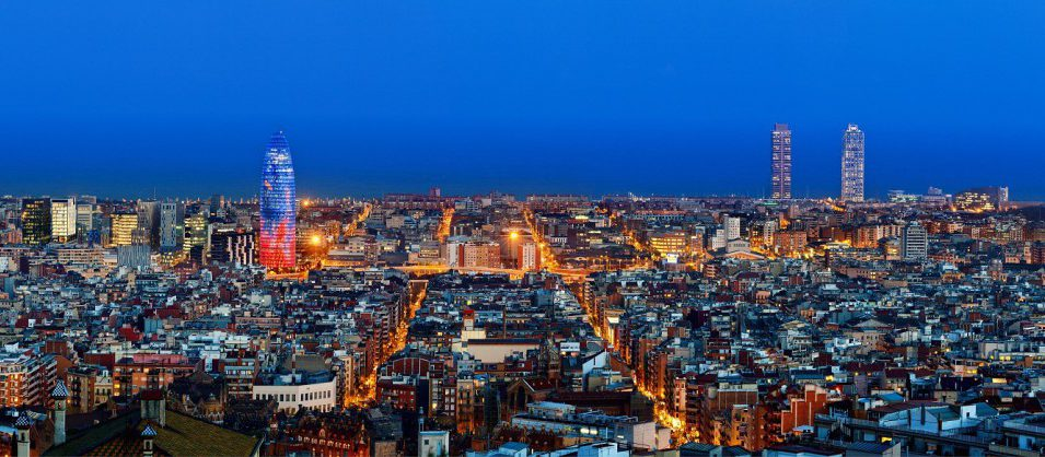 23 Mar 2011, Barcelona, Barcelona Province, Spain --- Barcelona skyline with Torre Agbar at twilight, Barcelona, Spain --- Image by © Sylvain Sonnet/Corbis