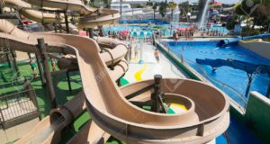 VILASSAR DE DALT, SPAIN - AUGUST 30, 2014: Water slide at Illa Fantasia Barcelona's Water Park